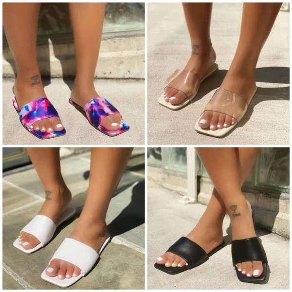 Women's Fashion Flat Slide Sandals Square Cut Head Slippers