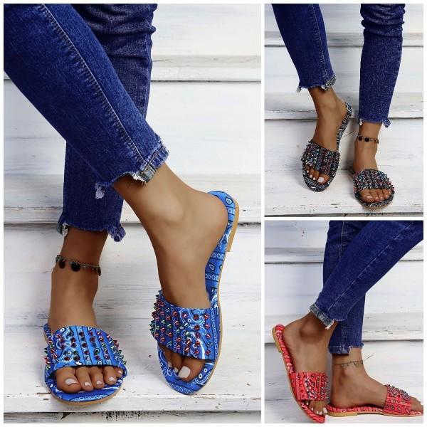 Glittering Rivets Slide Sandals Women's Bandana Print Flat Slippers