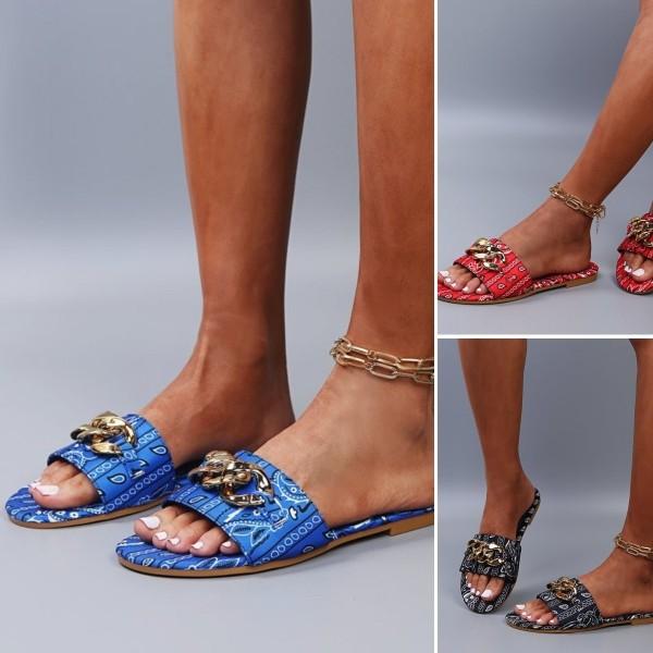Bandana Print Slide Sandals Women's Chains Flat Slippers