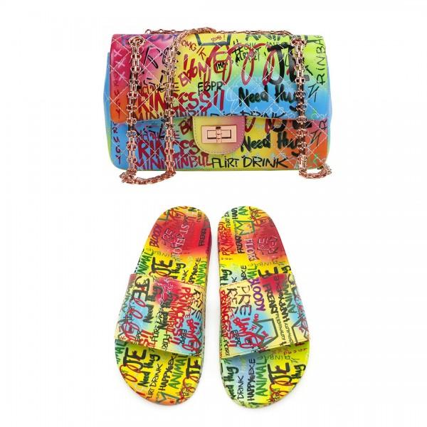 Women's Graffiti Slide Sandals with Matching Purse