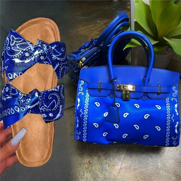 Bandana Bowtie Slide Sandals with Matching Purse