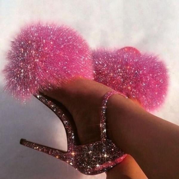 Glittering Pink Stiletto High Heel Sandals with Fluffy Fur