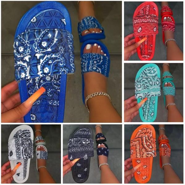 Bandana Slide Sandals for Women Floral Slip-On Slides