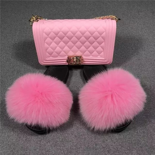 Fluffy Pink Fur Slides with Matching Jelly Purse