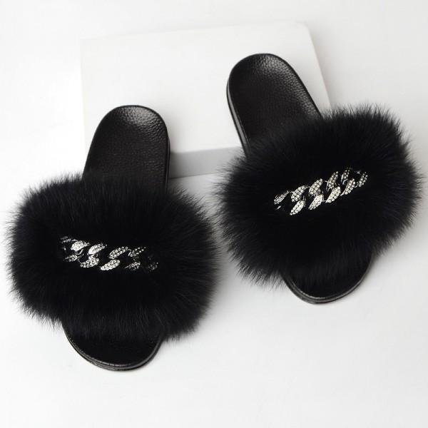 Women's Fur Slides with Rhinestone Chains Embellishment Slippers