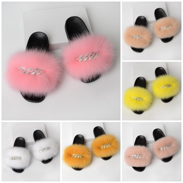 Colorful Fur Slides Shiny Chains Embellishment Slippers For Women