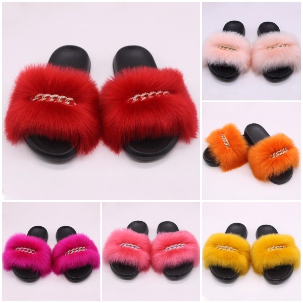 Faux Fur Slides For Women Glittering Rhinestones Chains Colorful  Slippers
