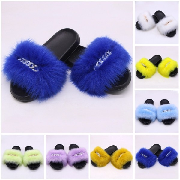 Women's Faux Fur Slides Shiny Beads Chains Decorated Furry Slippers