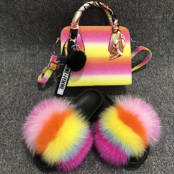Fluffy Fur Slides with Matching Handbag Set