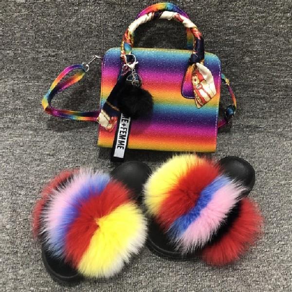 Women's Fur Slides and Matching Purse Set