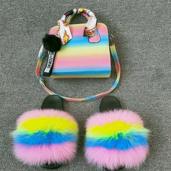 New In Fur Slides with Matching Purse Set