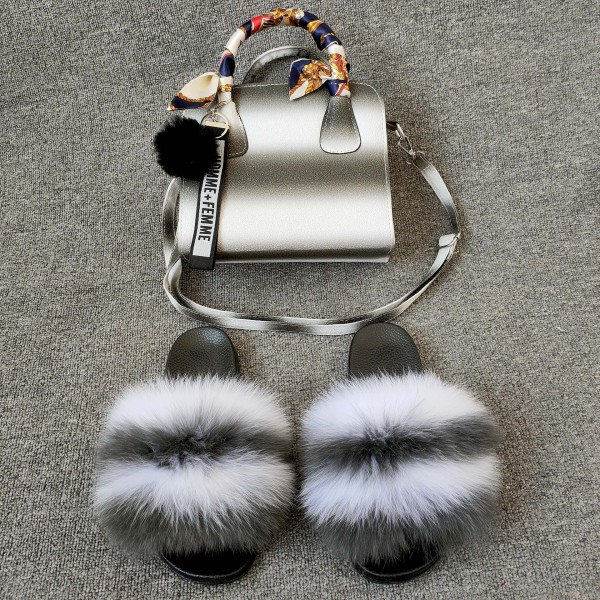 Grey and White Fur Slides with Matching Purse Set