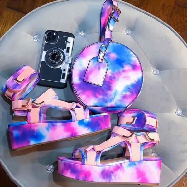 Tie Dye Platform Wedge Sandals with Matching Round Handbag