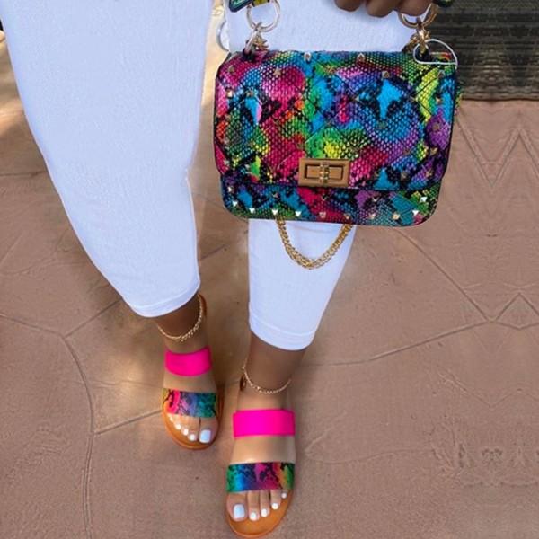 Flat Slide Sandals with Matching Snakeskin Print Handbag Set