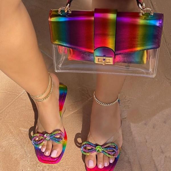 Rainbow Bowknot Flip Flops with Matching Clear Handbag