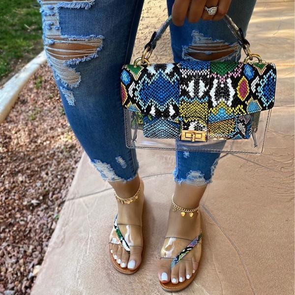 Snakeskin Print Slide Sandals with Matching Clear Handbag