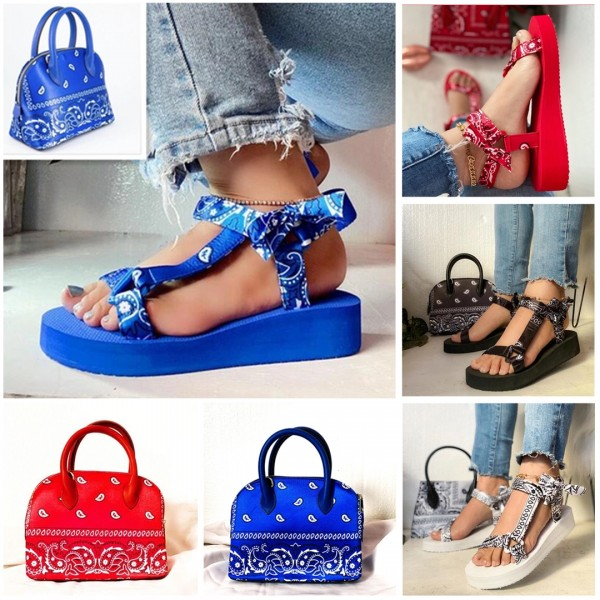 Bandana Tevas Sandals with Matching Handbag Set