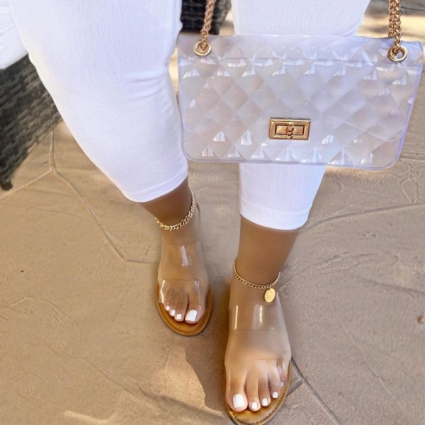 Clear Slide Sandals with Matching Jelly Purse Set
