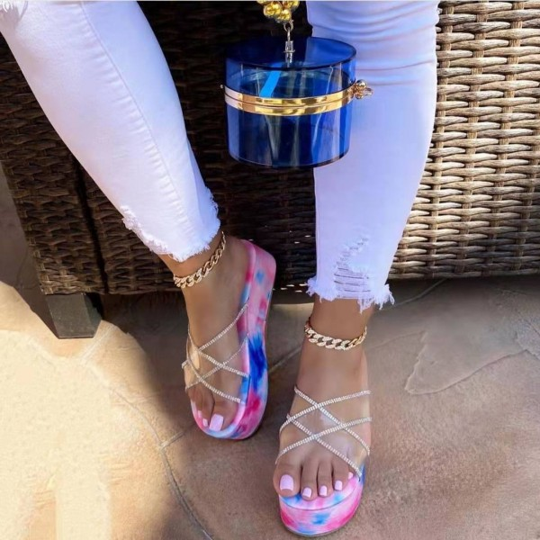 Clear Platform Slide Sandals with Matching Handle Box Bag