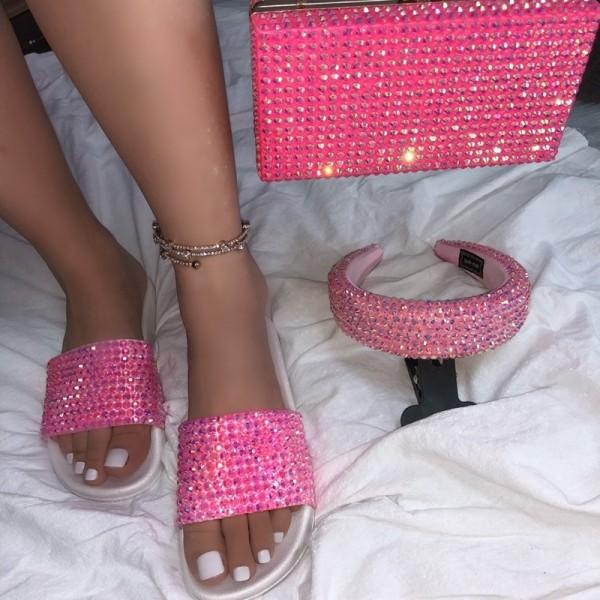 Rhinestone Slide Sandals with Matching Clutch and Headband Set