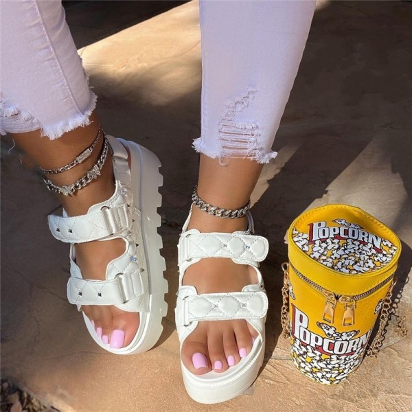 White Two Bands Platform Sandals with Matching Popcorn Bucket Bag