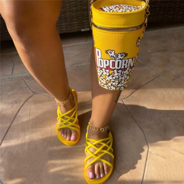 Yellow Flat Rope Sandals with Matching Popcorn Bucket Bag