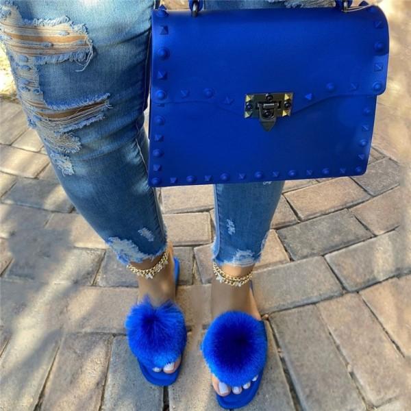 Royal Blue Pom Pom Slide Sandals with Matching Handbag Set