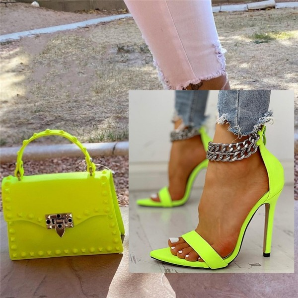 Neon Green Chain Ankle Strap Sandals with Matching Handbag