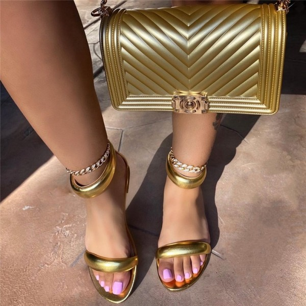 Women's Gold Flat Sandals with Matching Jelly Purse
