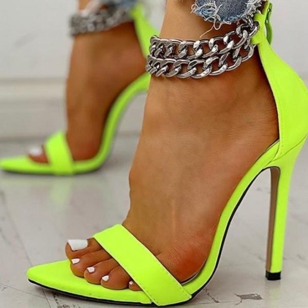 Chain Ankle Strap Heel Sandals Women's Summer High Heels