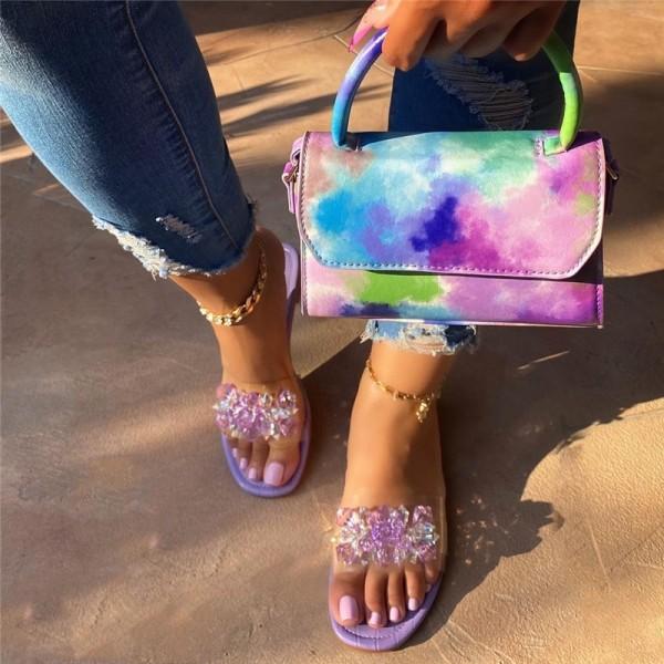 Purple Slide Sandals with Matching Tie Dye Handbag