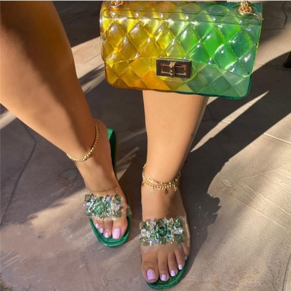 Green Crystal Slide Sandals with Matching Clear Jelly Purse