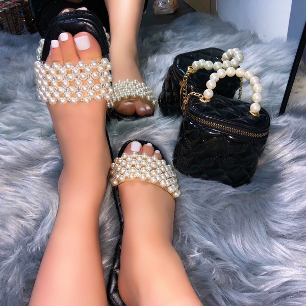 Pearls Slide Sandals with Matching Black Box Bag