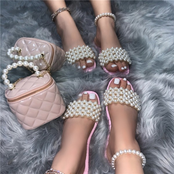 Pink Pearls Slide Sandals with Matching Bucket Bag
