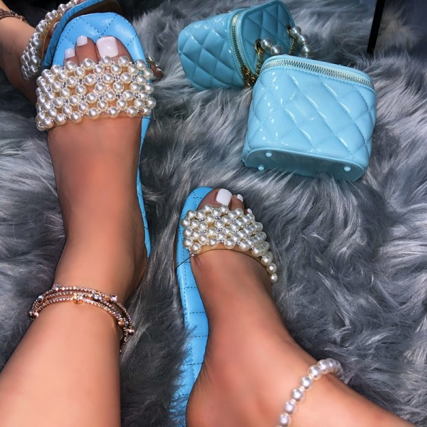 Matching Pearls Slide Sandals and Blue Bucket Bag