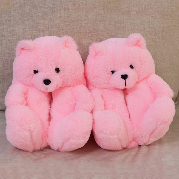 Pink Teddy Bear Slippers for Adults Cartoon Plush House Shoes
