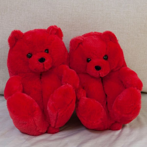 Red Teddy Bear Slippers Adults' Warm Plush House Shoes