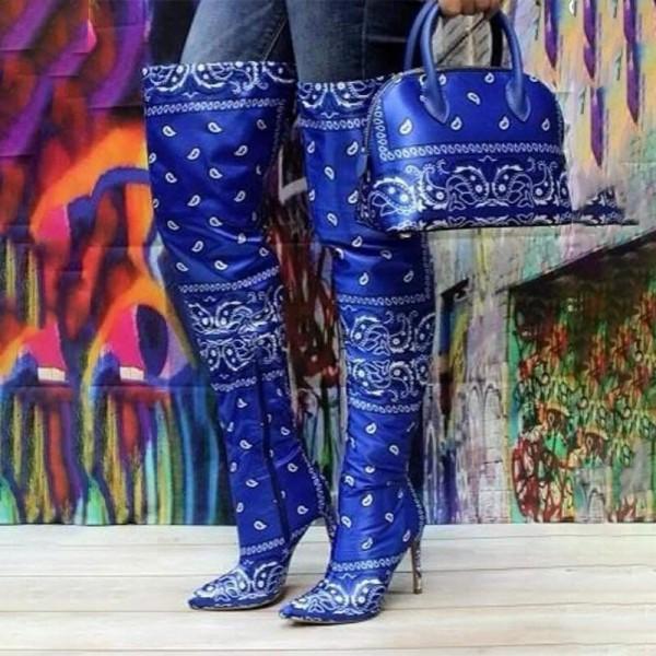 Bandana Thigh High Boots with Matching Handbags