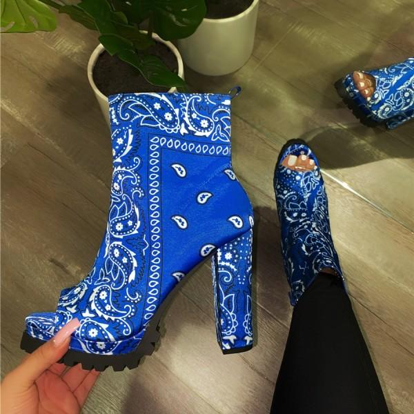 Bandana Peep Toe Boots Women's High Heel Booties