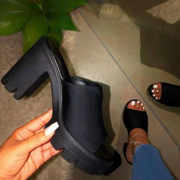 Black Platform Mules Block Heel Peep-Toe Sandals
