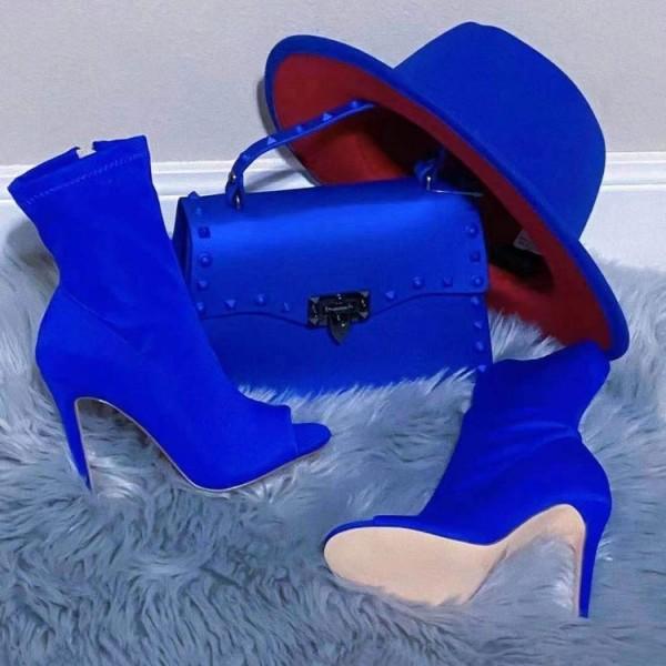 Royal Blue Peep Toe Booties with Matching Handbag Set