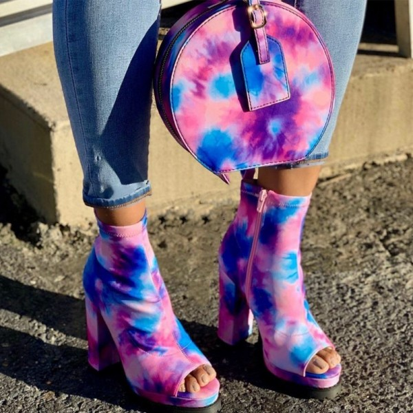 Tie Dye Peep Toe Boots with Matching Round Clutch Purse
