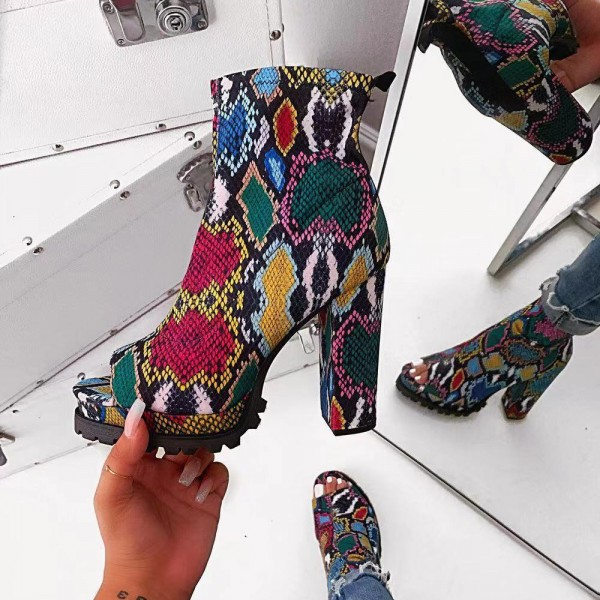 Colorful Snakeskin Peep Toe Boots Platform High Heel Booties
