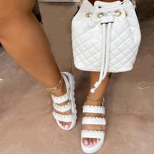 White Platform Sandals with Matching Quilted Bucket Bag