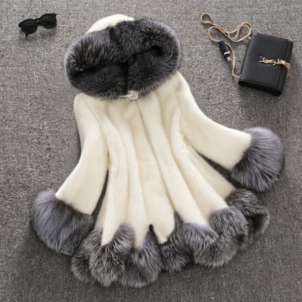 Faux Fur Coat Women's Long Sleeves Fluffy Hooded Overcoat