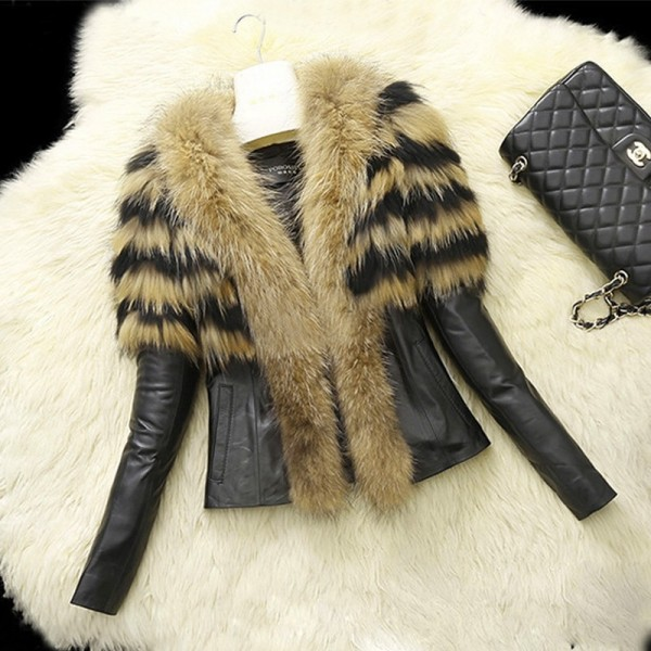 Faux Fur Jacket Women's Leather Jacket with Fur