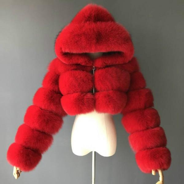 Red Fur Hooded Coat Women's Crop Faux Fur Jacket