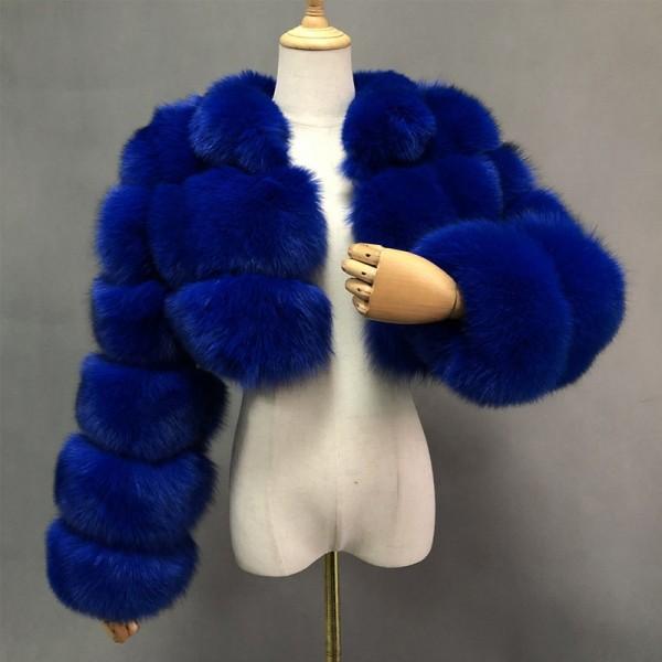 Women's Faux Fur Jacket Royal Blue Hooded Short Fur Coat