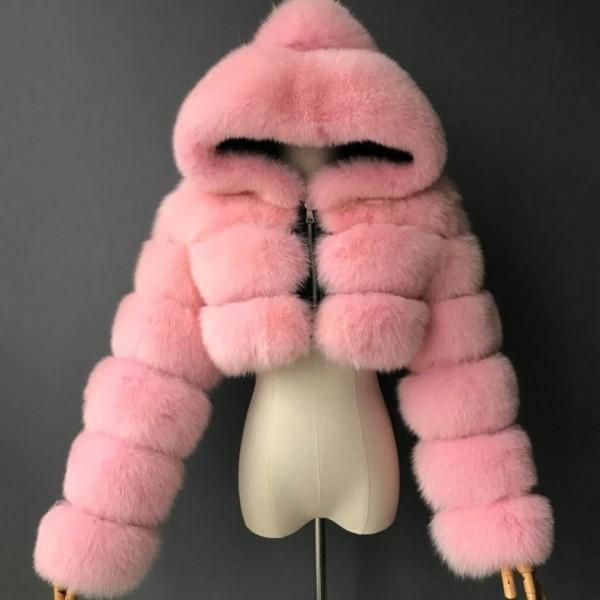 Pink Faux Fur Jacket Women's Crop Furry Hooded Jacket