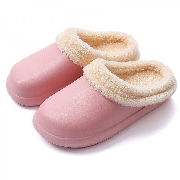 Winter House Slippers for Women Waterproof Fur Lined Clogs